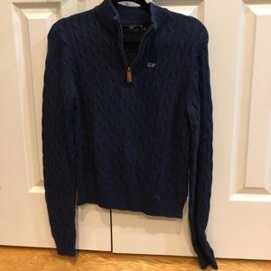 Vineyard Vines Navy Cable Knit 3/4 ZIP Sweater